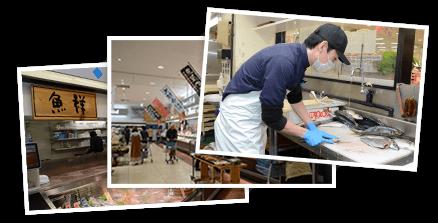 調理の様子と店舗風景